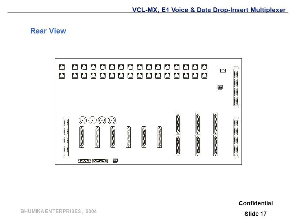 BHUMIKA ENTERPRISES, 2004 Rear View Confidential Slide 17 VCL-MX, E1 Voice & Data Drop-Insert Multiplexer