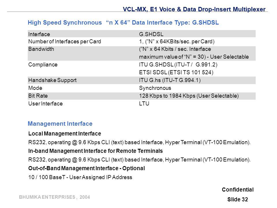 BHUMIKA ENTERPRISES, 2004 Confidential Slide 32 Management Interface Local Management Interface RS232, operating @ 9.6 Kbps CLI (text) based Interface, Hyper Terminal (VT-100 Emulation).