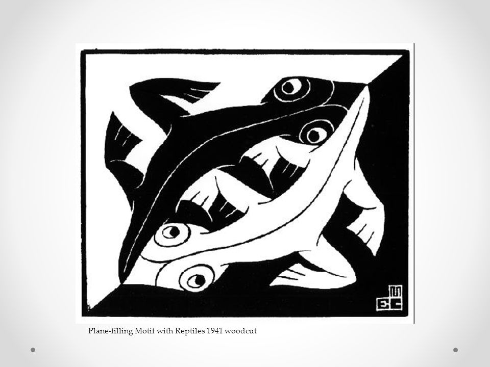 Plane-filling Motif with Reptiles 1941 woodcut