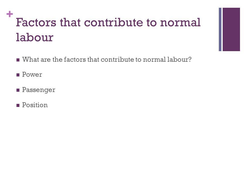 + Factors that contribute to normal labour What are the factors that contribute to normal labour? Power Passenger Position
