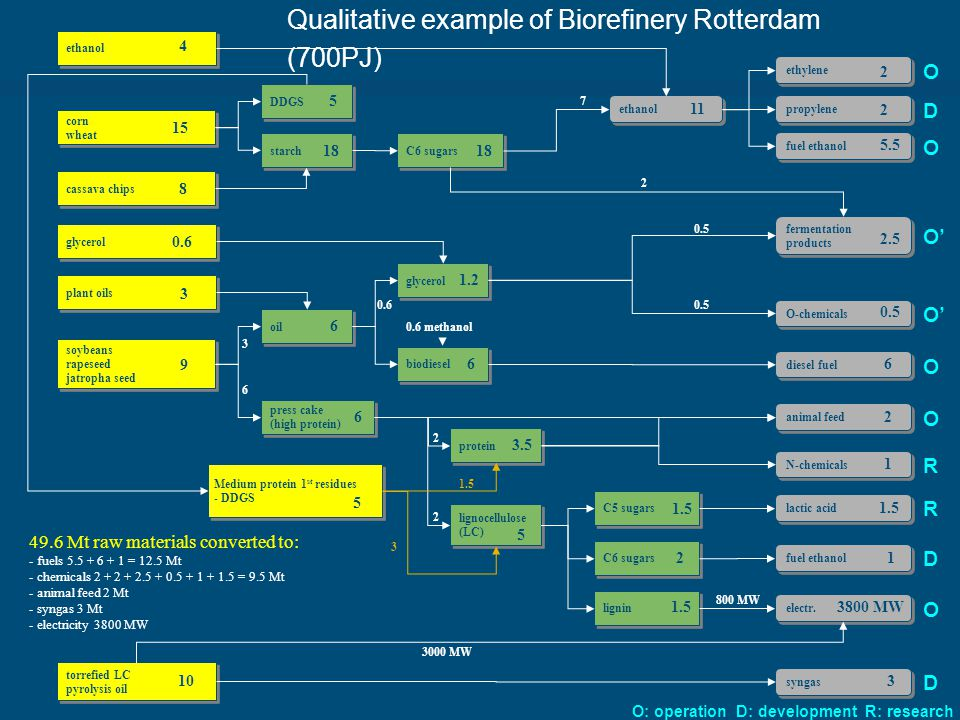 Qualitative example of Biorefinery Rotterdam (700PJ) corn wheat corn wheat cassava chips diesel fuel DDGS soybeans rapeseed jatropha seed soybeans rapeseed jatropha seed Medium protein 1 st residues - DDGS Medium protein 1 st residues - DDGS starch C6 sugars oil glycerol biodiesel press cake (high protein) press cake (high protein) protein lignocellulose (LC) lignocellulose (LC) C6 sugars C5 sugars O-chemicals fermentation products lignin animal feed N-chemicals fuel ethanol lactic acid 49.6 Mt raw materials converted to: - fuels = 12.5 Mt - chemicals = 9.5 Mt - animal feed 2 Mt - syngas 3 Mt - electricity 3800 MW electr.
