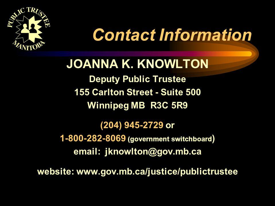 Contact Information JOANNA K.