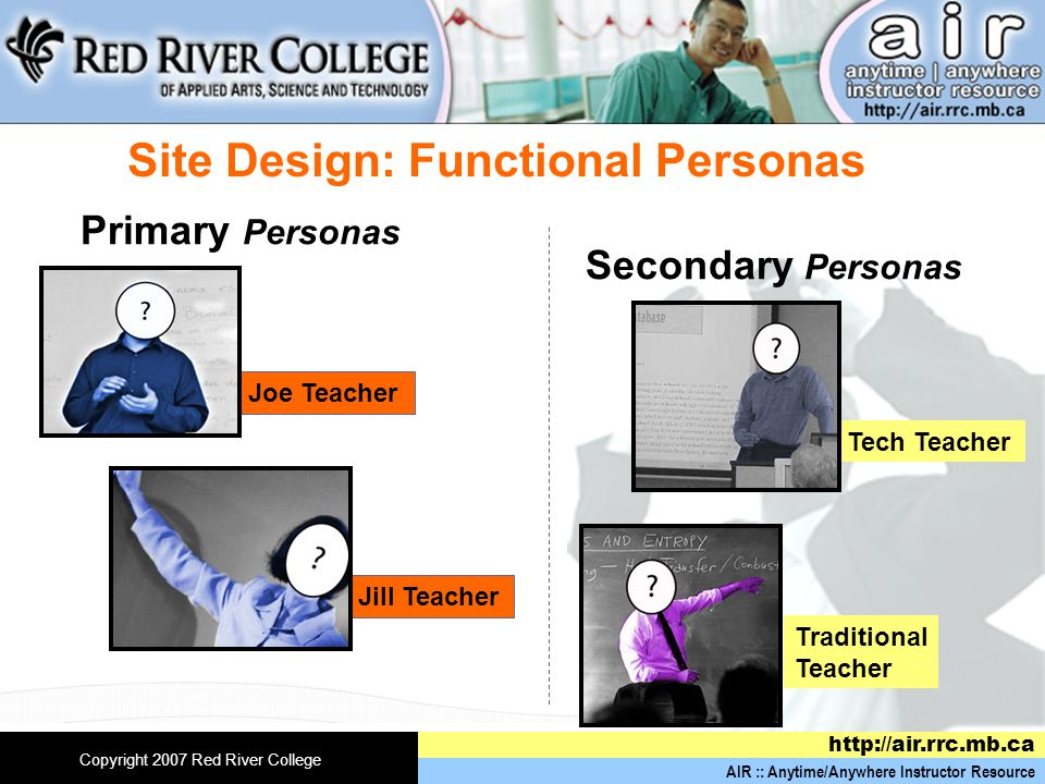 AIR :: Anytime/Anywhere Instructor Resource http://air.rrc.mb.ca Copyright 2007 Red River College Primary Personas Secondary Personas Joe Teacher Jill Teacher Tech Teacher Traditional Teacher Site Design: Functional Personas