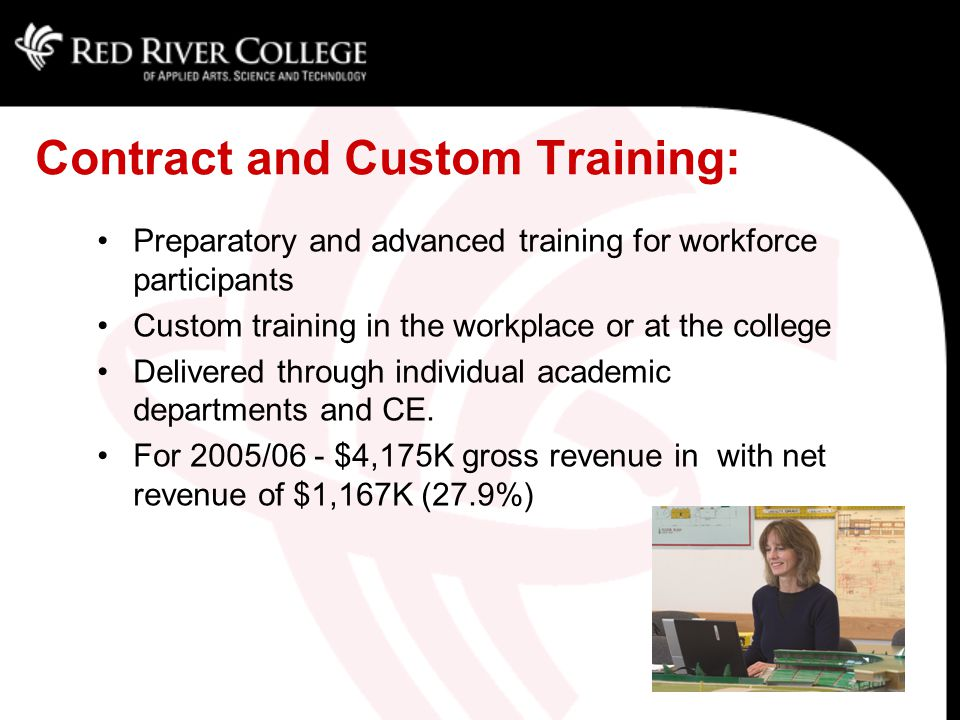 Contract and Custom Training: Preparatory and advanced training for workforce participants Custom training in the workplace or at the college Delivered through individual academic departments and CE.
