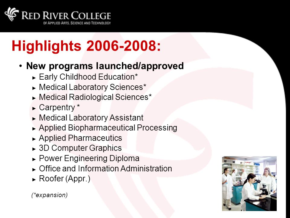 Highlights 2006-2008: New programs launched/approved ► Early Childhood Education* ► Medical Laboratory Sciences* ► Medical Radiological Sciences* ► Carpentry * ► Medical Laboratory Assistant ► Applied Biopharmaceutical Processing ► Applied Pharmaceutics ► 3D Computer Graphics ► Power Engineering Diploma ► Office and Information Administration ► Roofer (Appr.) (*expansion)