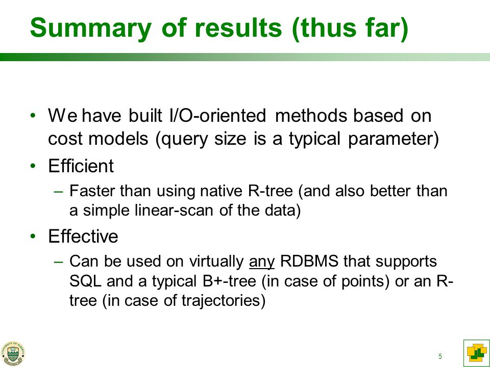 5 Summary of results (thus far) We have built I/O-oriented methods based on cost models (query size is a typical parameter) Efficient –Faster than using native R-tree (and also better than a simple linear-scan of the data) Effective –Can be used on virtually any RDBMS that supports SQL and a typical B+-tree (in case of points) or an R- tree (in case of trajectories)