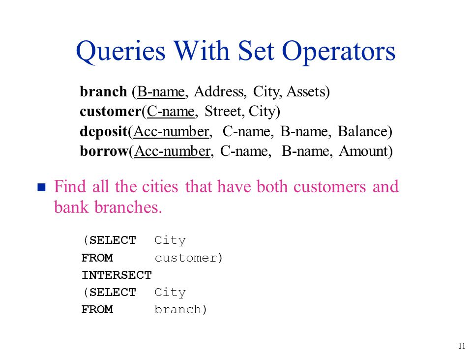 11 Queries With Set Operators n Find all the cities that have both customers and bank branches.