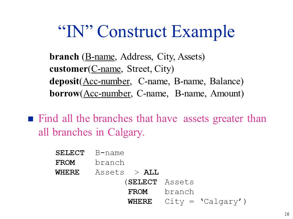 16 IN Construct Example n Find all the branches that have assets greater than all branches in Calgary.
