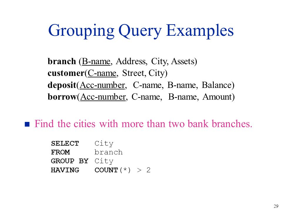 29 Grouping Query Examples n Find the cities with more than two bank branches.