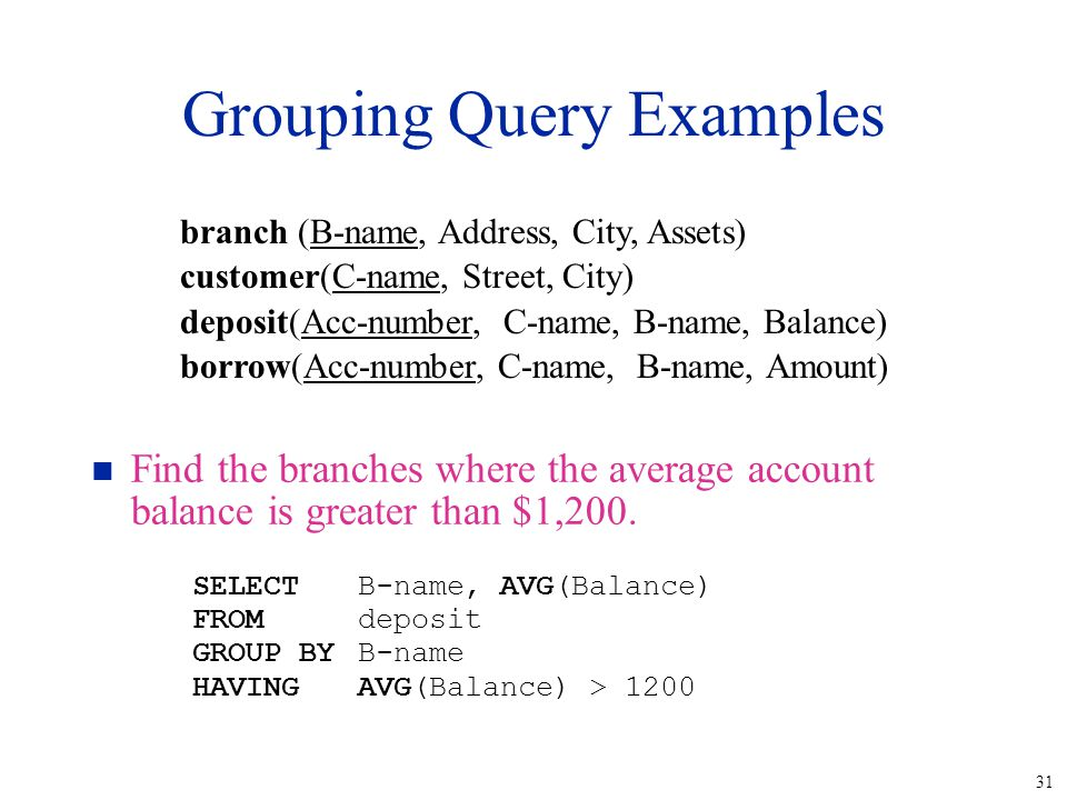 31 Grouping Query Examples n Find the branches where the average account balance is greater than $1,200. SELECTB-name, AVG(Balance) FROMdeposit GROUP