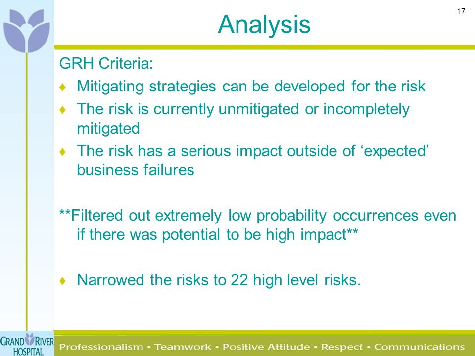 17 Analysis GRH Criteria: ♦ Mitigating strategies can be developed for the risk ♦ The risk is currently unmitigated or incompletely mitigated ♦ The ri