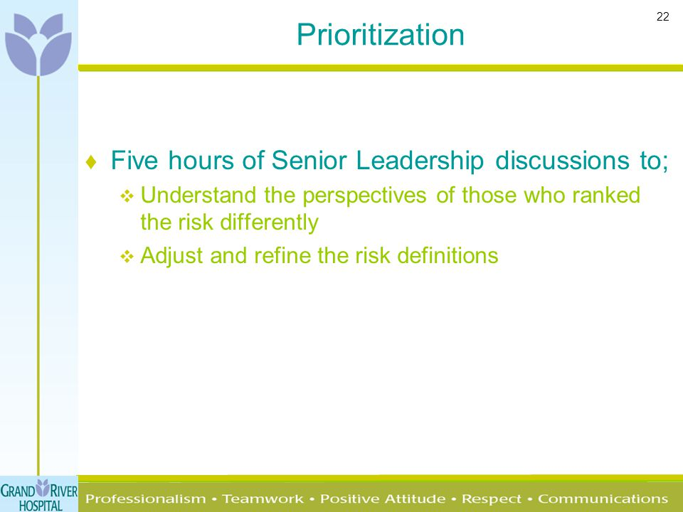 22 Prioritization ♦ Five hours of Senior Leadership discussions to;  Understand the perspectives of those who ranked the risk differently  Adjust an