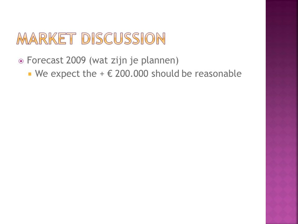  Forecast 2009 (wat zijn je plannen)  We expect the + € 200.000 should be reasonable
