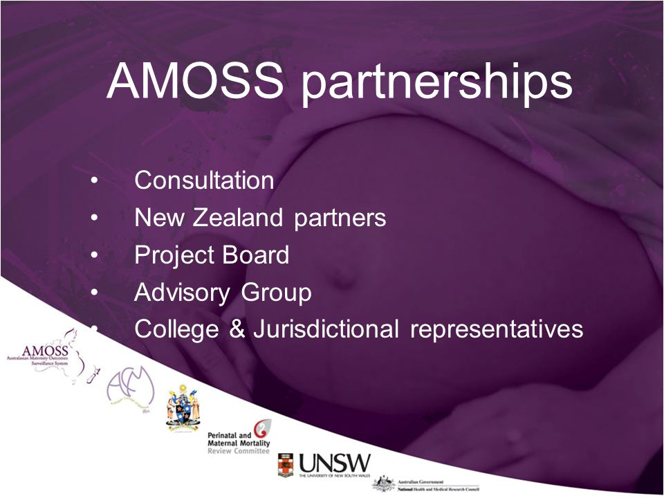AMOSS partnerships Consultation New Zealand partners Project Board Advisory Group College & Jurisdictional representatives