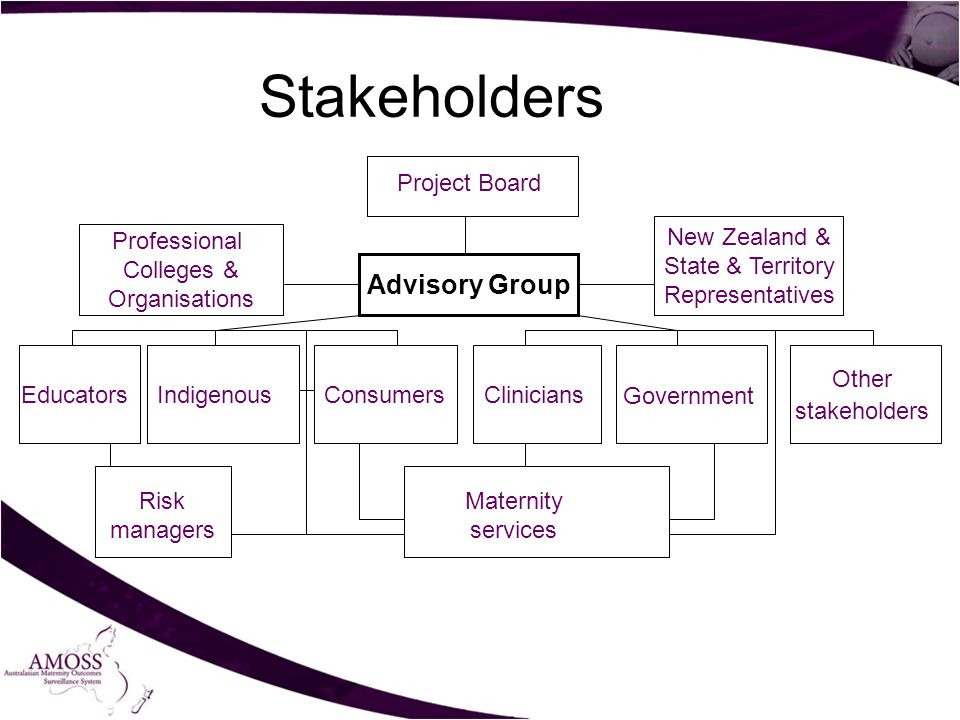 Professional Colleges & Organisations Government Consumers Maternity services Stakeholders Indigenous Project Board Risk managers New Zealand & State & Territory Representatives CliniciansEducators Other stakeholders Advisory Group