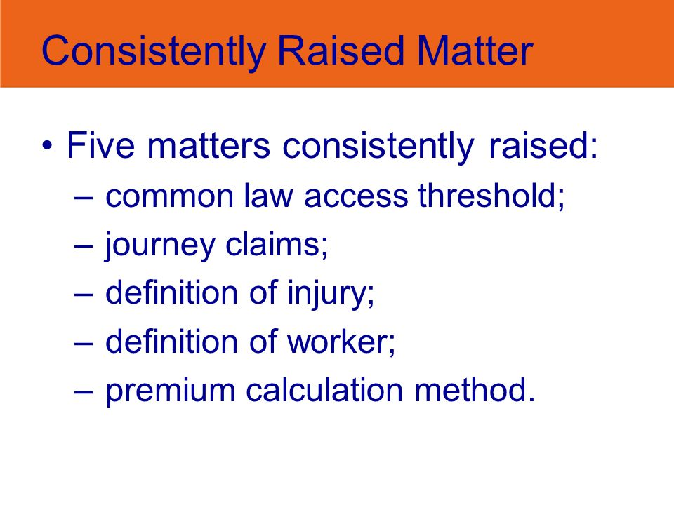 Consistently Raised Matter Five matters consistently raised: –common law access threshold; –journey claims; –definition of injury; –definition of worker; –premium calculation method.