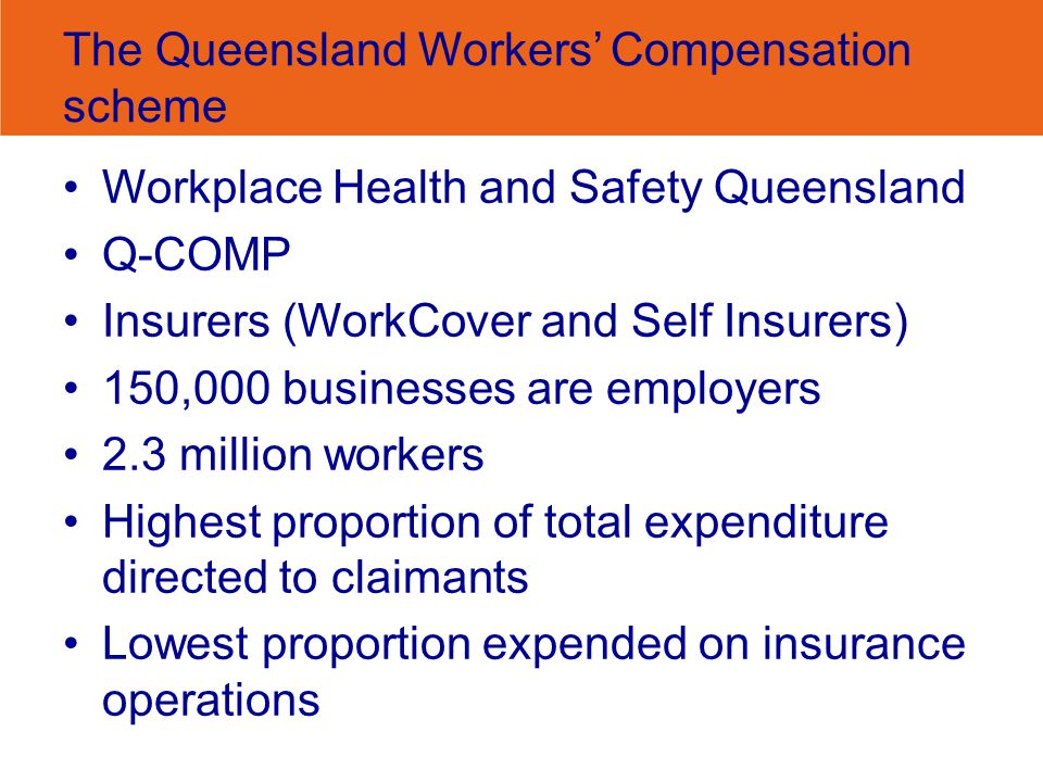 The Queensland Workers' Compensation scheme Workplace Health and Safety Queensland Q-COMP Insurers (WorkCover and Self Insurers) 150,000 businesses are employers 2.3 million workers Highest proportion of total expenditure directed to claimants Lowest proportion expended on insurance operations