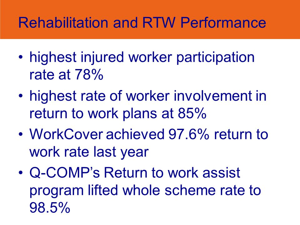Rehabilitation and RTW Performance highest injured worker participation rate at 78% highest rate of worker involvement in return to work plans at 85%