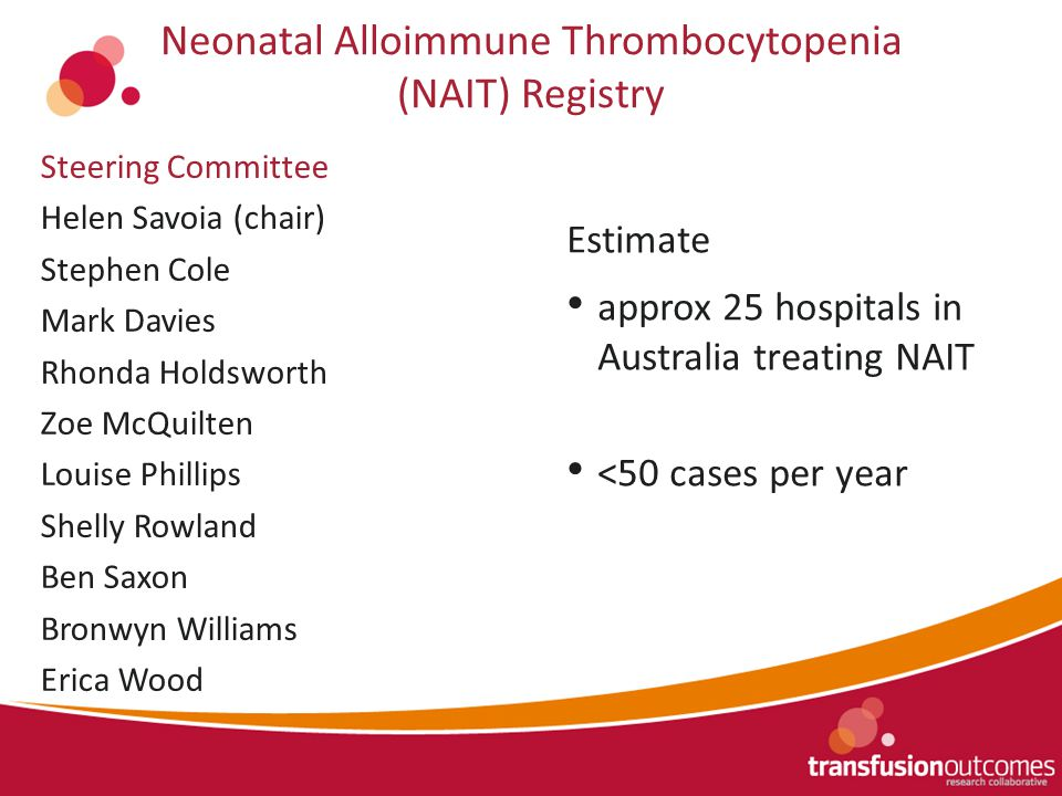Neonatal Alloimmune Thrombocytopenia (NAIT) Registry Estimate approx 25 hospitals in Australia treating NAIT <50 cases per year Steering Committee Helen Savoia (chair) Stephen Cole Mark Davies Rhonda Holdsworth Zoe McQuilten Louise Phillips Shelly Rowland Ben Saxon Bronwyn Williams Erica Wood