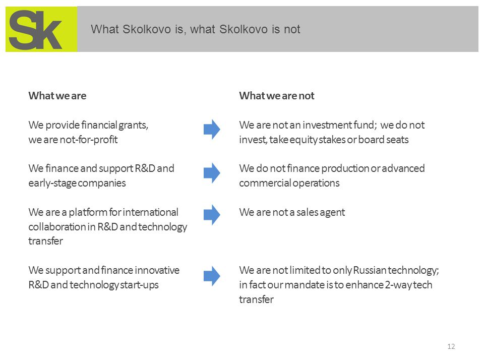 12 What Skolkovo is, what Skolkovo is not What we are We provide financial grants, we are not-for-profit We finance and support R&D and early-stage co