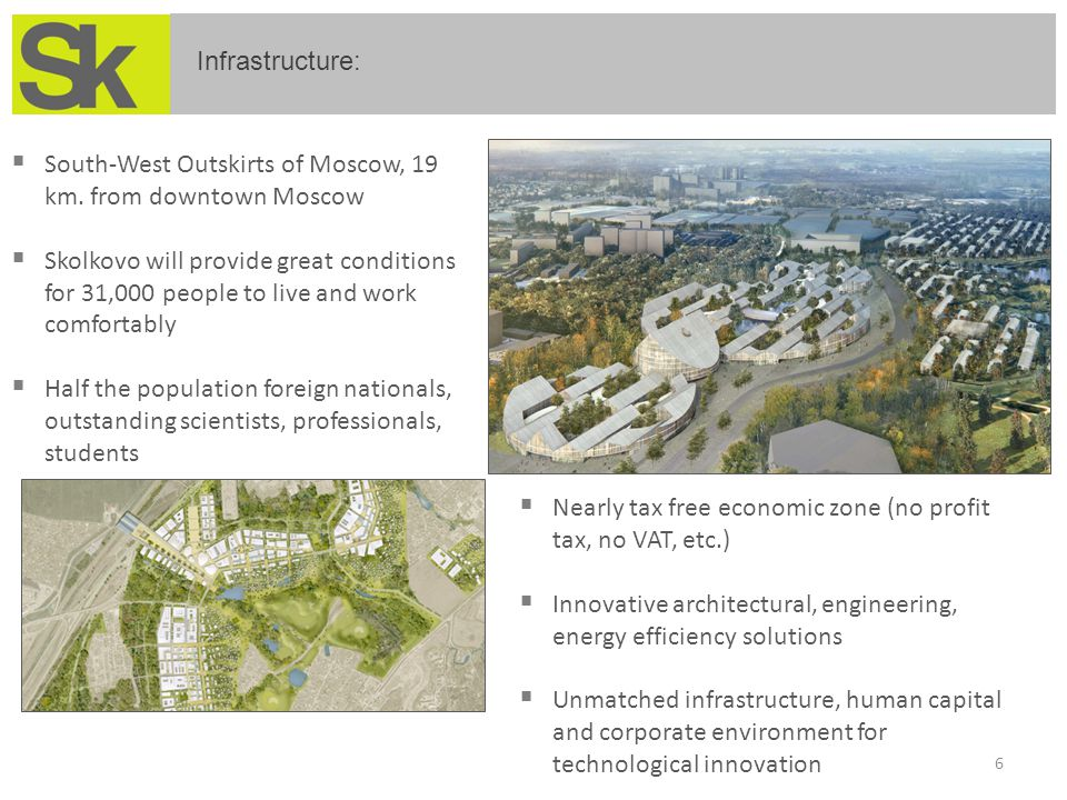  South-West Outskirts of Moscow, 19 km. from downtown Moscow  Skolkovo will provide great conditions for 31,000 people to live and work comfortably