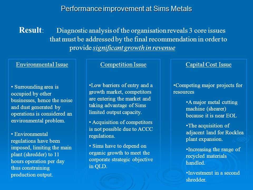 Performance improvement at Sims Metals  Action Analyse the production processes to identify:- Analyse the production processes to identify:- Which are the key profit margin contributors?Which are the key profit margin contributors.