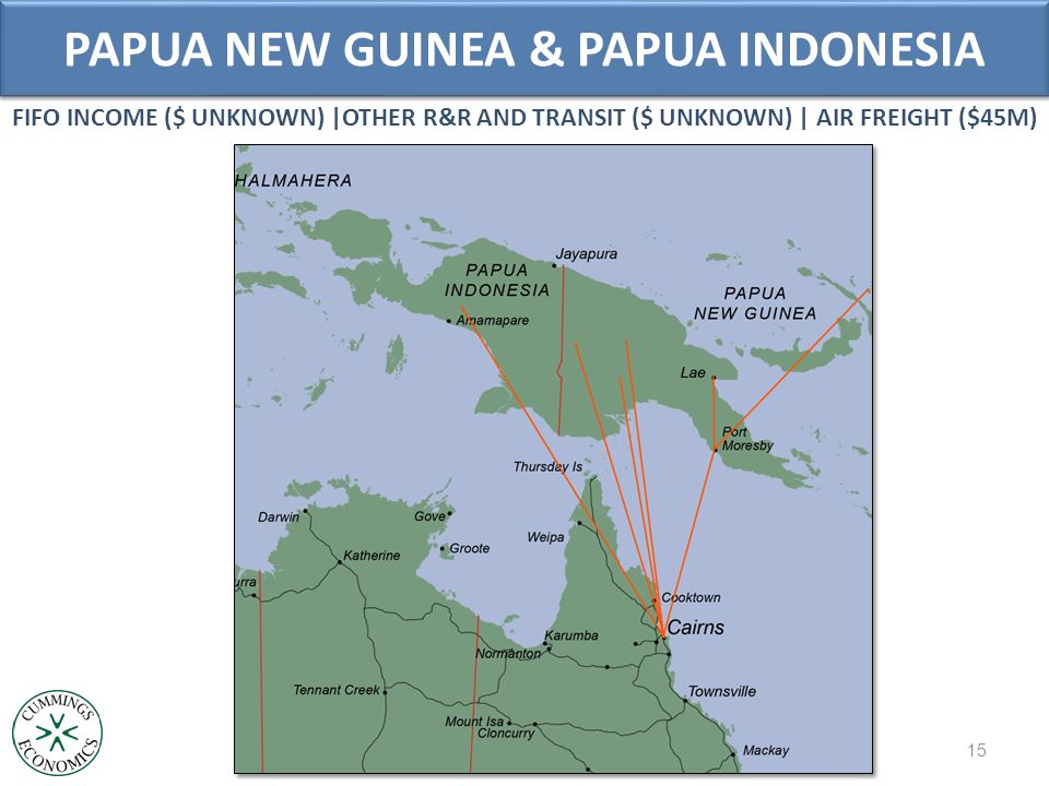 PAPUA NEW GUINEA & PAPUA INDONESIA 15 FIFO INCOME ($ UNKNOWN) |OTHER R&R AND TRANSIT ($ UNKNOWN) | AIR FREIGHT ($45M)