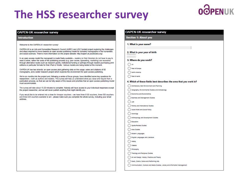 The HSS researcher survey