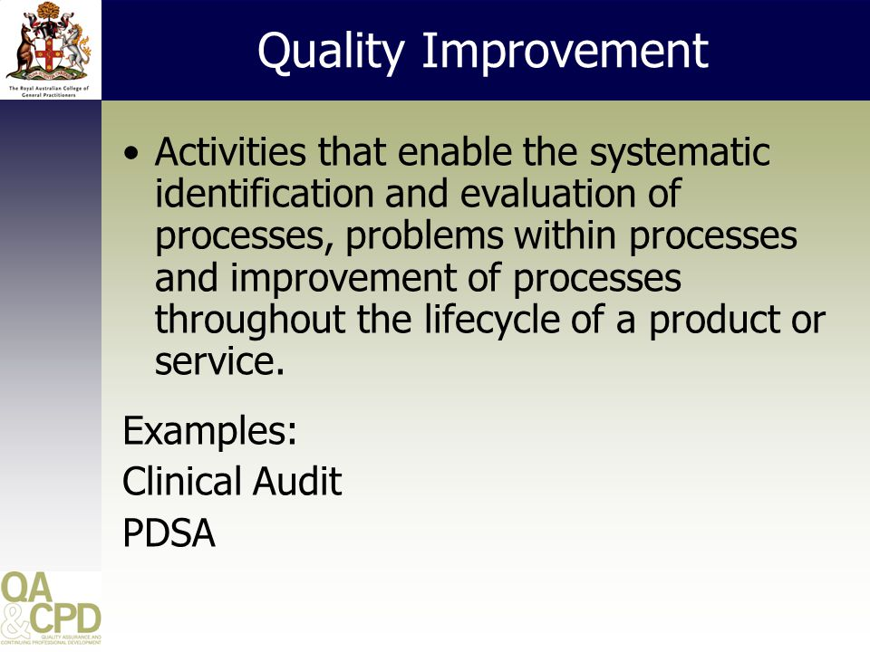 Quality Improvement Clinical Audit - planned medical education activity designed to help GPs systematically review aspects of their own clinical performance against defined best practice guidelines.