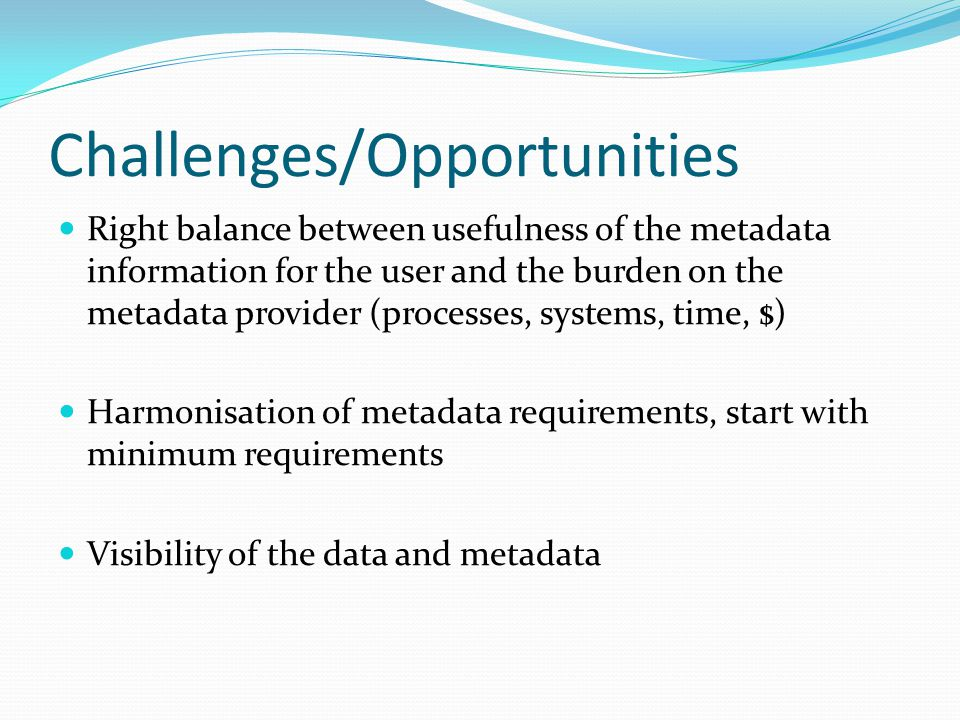 Challenges/Opportunities Right balance between usefulness of the metadata information for the user and the burden on the metadata provider (processes, systems, time, $) Harmonisation of metadata requirements, start with minimum requirements Visibility of the data and metadata