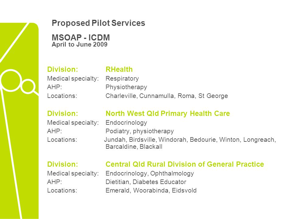 Proposed Pilot Services MSOAP - ICDM April to June 2009 Division:RHealth Medical specialty: Respiratory AHP: Physiotherapy Locations: Charleville, Cunnamulla, Roma, St George Division: North West Qld Primary Health Care Medical specialty: Endocrinology AHP: Podiatry, physiotherapy Locations: Jundah, Birdsville, Windorah, Bedourie, Winton, Longreach, Barcaldine, Blackall Division:Central Qld Rural Division of General Practice Medical specialty: Endocrinology, Ophthalmology AHP: Dietitian, Diabetes Educator Locations: Emerald, Woorabinda, Eidsvold
