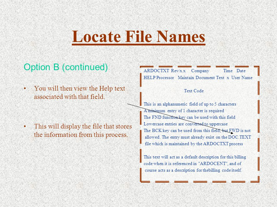 Locate File Names Option B (continued) You will then view the Help text associated with that field.