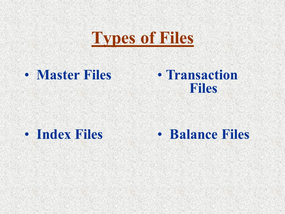 Types of Files Transaction Files Index Files Balance Files Master Files