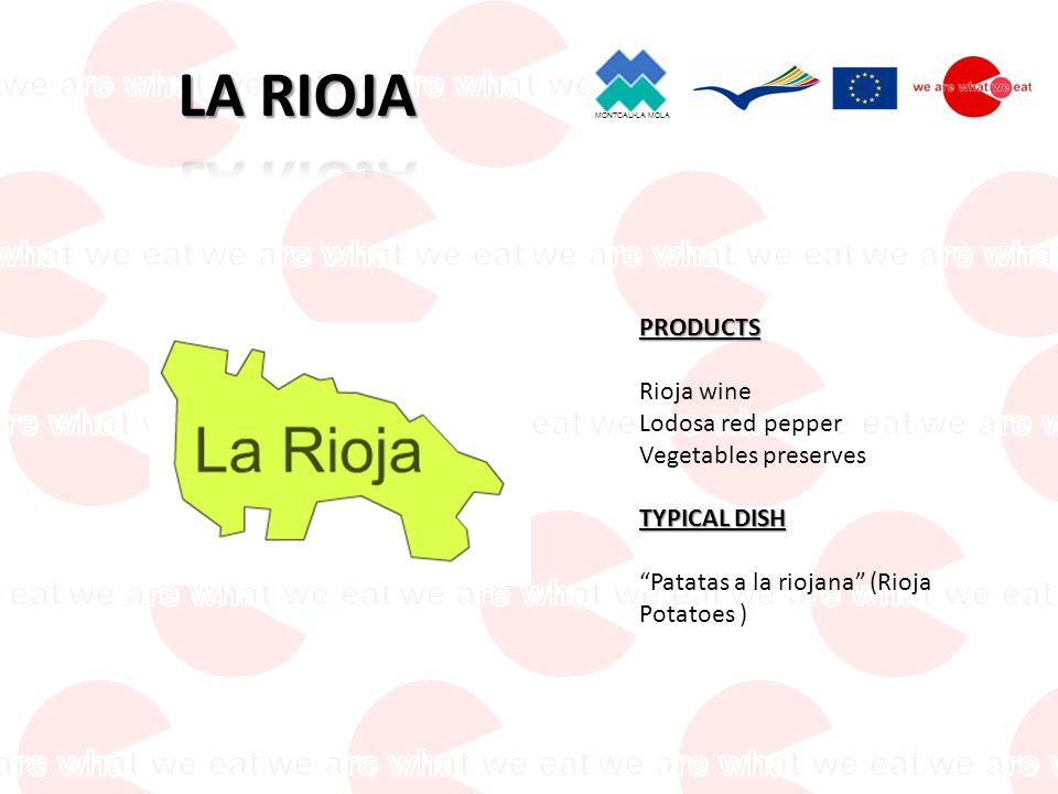 MONTCAU-LA MOLA PRODUCTS Ribera del Duero wines Beans Burgos Morcilla (blood sausage) Santa Teresa Yolks Guijuelo Ham Bell pepper Veal TYPICAL DISH Segoviano piglets
