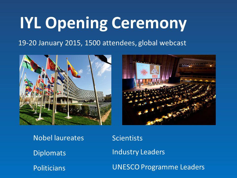 IYL Opening Ceremony 19-20 January 2015, 1500 attendees, global webcast Nobel laureates Diplomats Politicians Scientists Industry Leaders UNESCO Progr