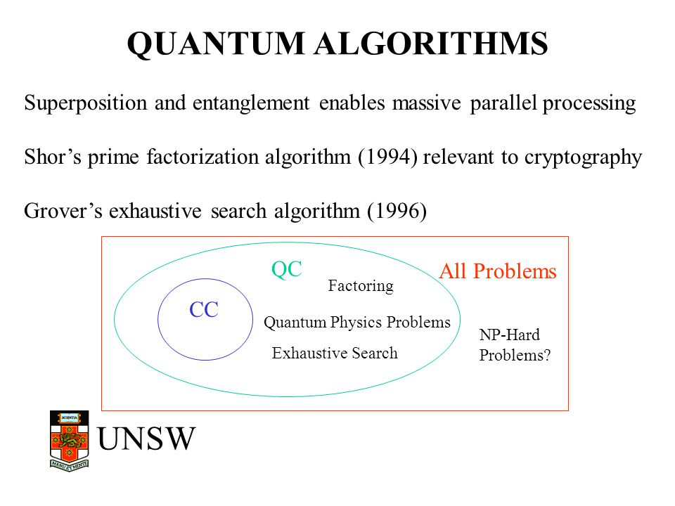 UNSW QUANTUM ALGORITHMS Superposition and entanglement enables massive parallel processing Shor's prime factorization algorithm (1994) relevant to cry