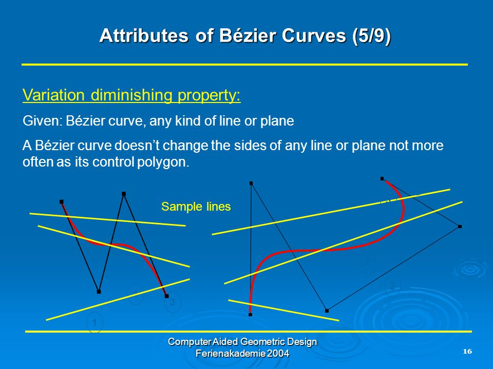 16 Computer Aided Geometric Design Ferienakademie 2004 Attributes of Bézier Curves (5/9) Variation diminishing property: Given: Bézier curve, any kind of line or plane A Bézier curve doesn't change the sides of any line or plane not more often as its control polygon.
