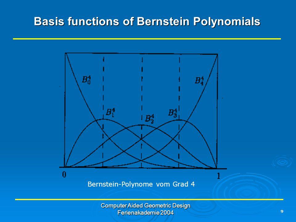 9 Computer Aided Geometric Design Ferienakademie 2004 Basis functions of Bernstein Polynomials Bernstein-Polynome vom Grad 4
