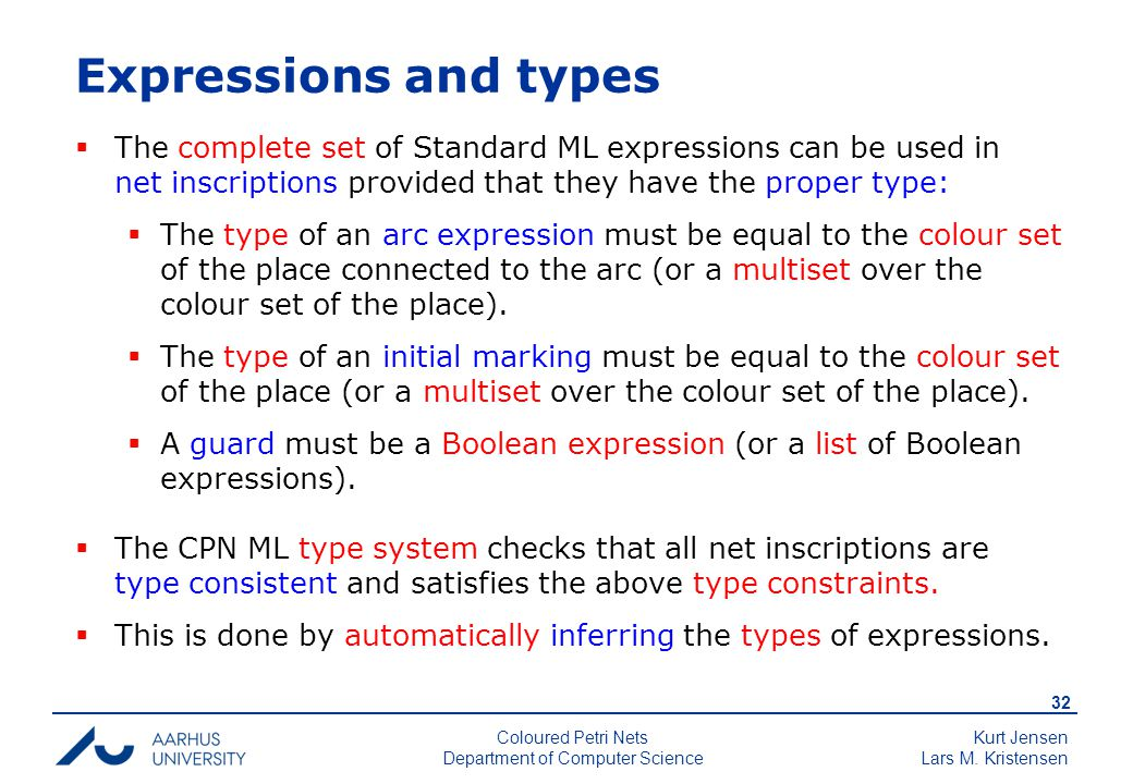 Kurt Jensen Lars M. Kristensen 32 Coloured Petri Nets Department of Computer Science Expressions and types  The complete set of Standard ML expressio