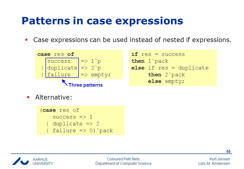 Kurt Jensen Lars M. Kristensen 55 Coloured Petri Nets Department of Computer Science Patterns in case expressions case res of success => 1`p | duplica