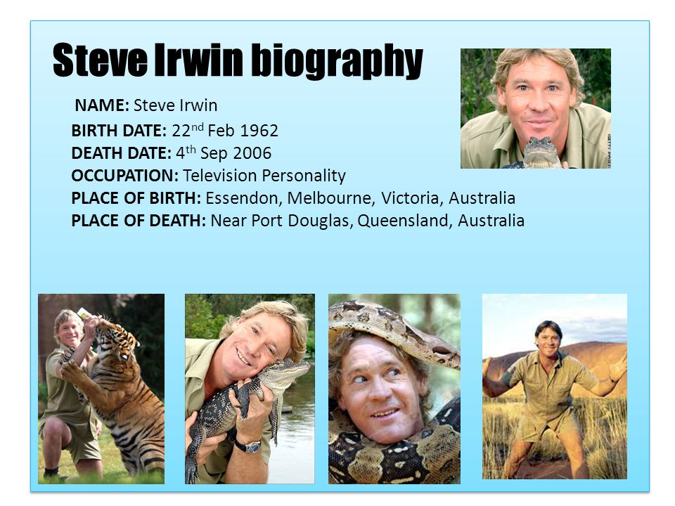 By Mia Wales Bibliography www.biography.com wikipedia.org environment.about.com www.australiazoo.com.au