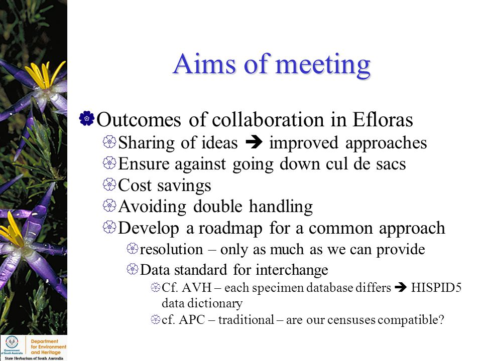 Aims of meeting  Outcomes of collaboration in Efloras  Sharing of ideas  improved approaches  Ensure against going down cul de sacs  Cost savings