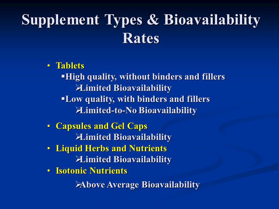 Supplement Types & Bioavailability Rates TabletsTablets  High quality, without binders and fillers  Limited Bioavailability  Low quality, with bind