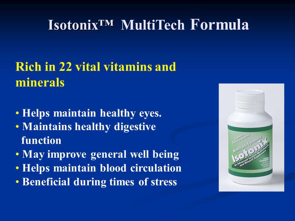 Rich in 22 vital vitamins and minerals Helps maintain healthy eyes. Maintains healthy digestive function May improve general well being Helps maintain