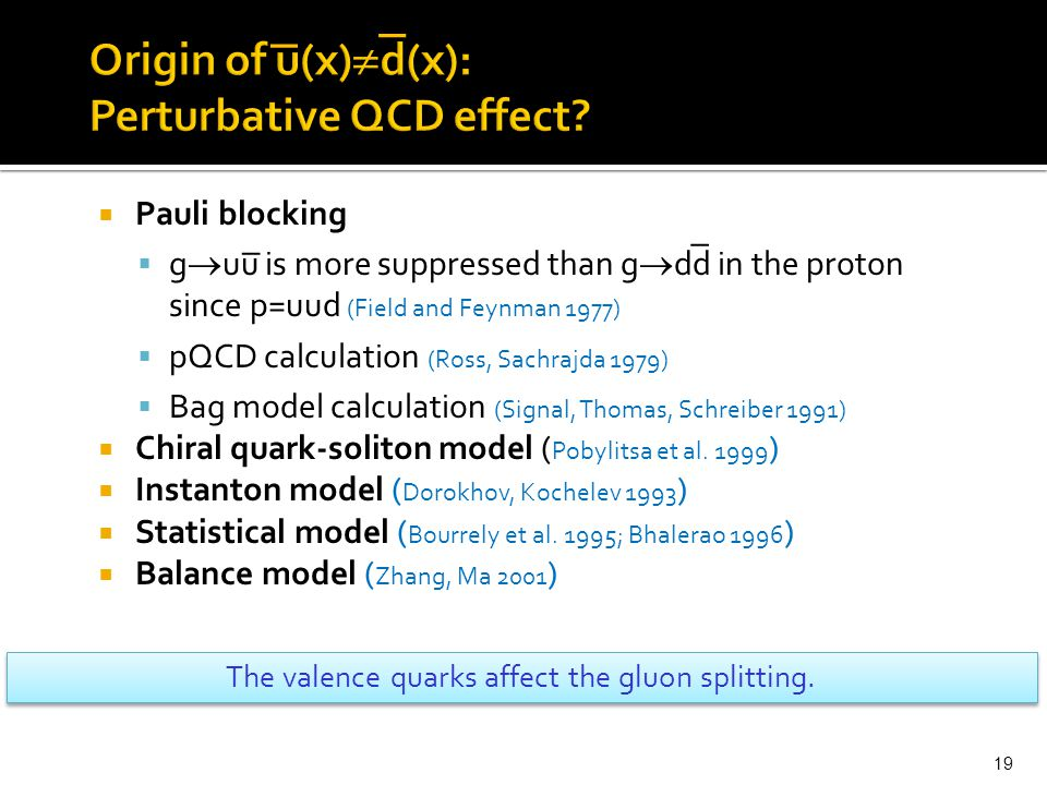  Pauli blocking  g  uu is more suppressed than g  dd in the proton since p=uud (Field and Feynman 1977)  pQCD calculation (Ross, Sachrajda 1979)  Bag model calculation (Signal, Thomas, Schreiber 1991)  Chiral quark-soliton model ( Pobylitsa et al.