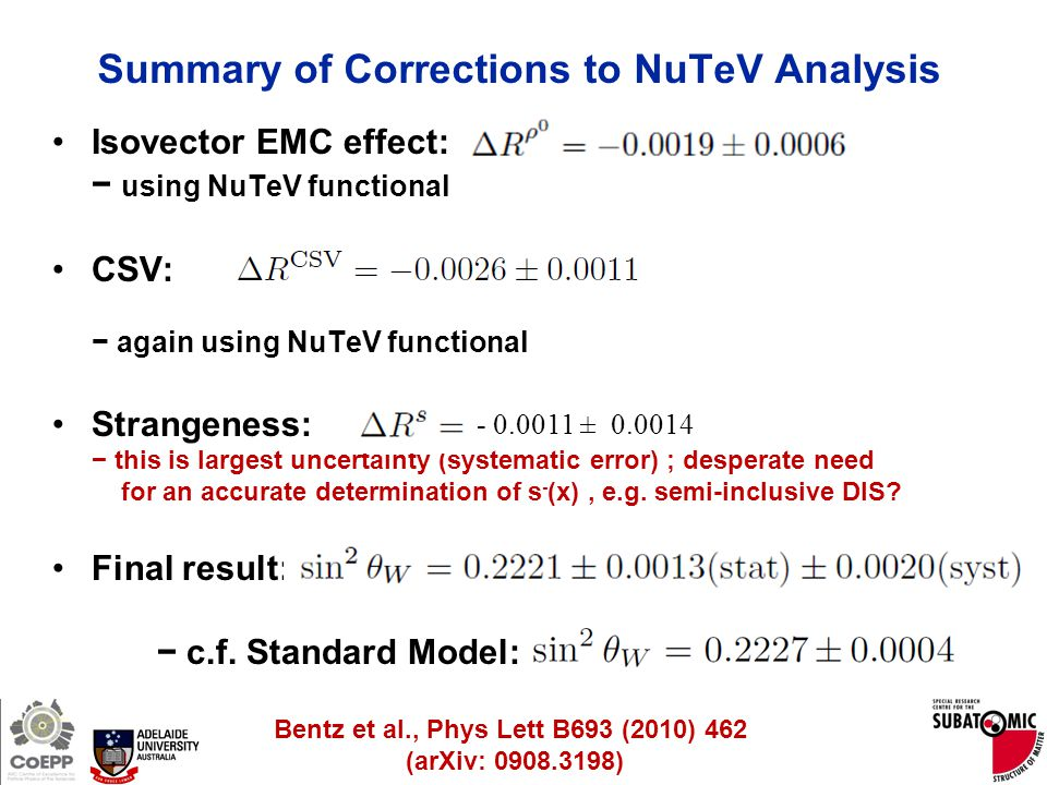 Page 28 Summary of Corrections to NuTeV Analysis Isovector EMC effect: − using NuTeV functional CSV: − again using NuTeV functional Strangeness: − thi