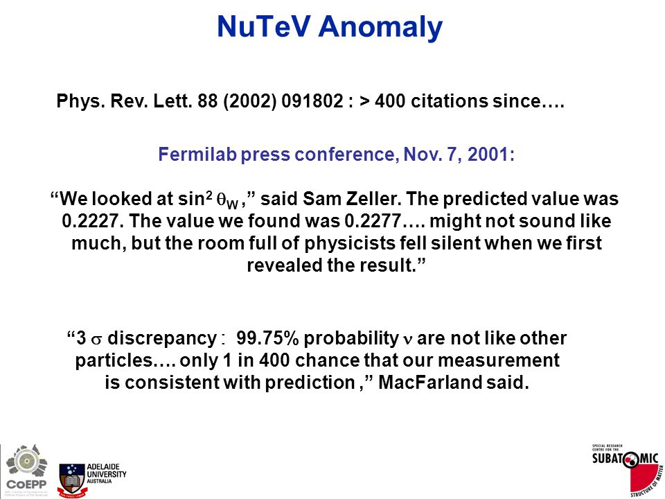 "Page 5 Phys. Rev. Lett. 88 (2002) 091802 : > 400 citations since…. Fermilab press conference, Nov. 7, 2001: ""We looked at sin 2  W,"" said Sam Zeller."