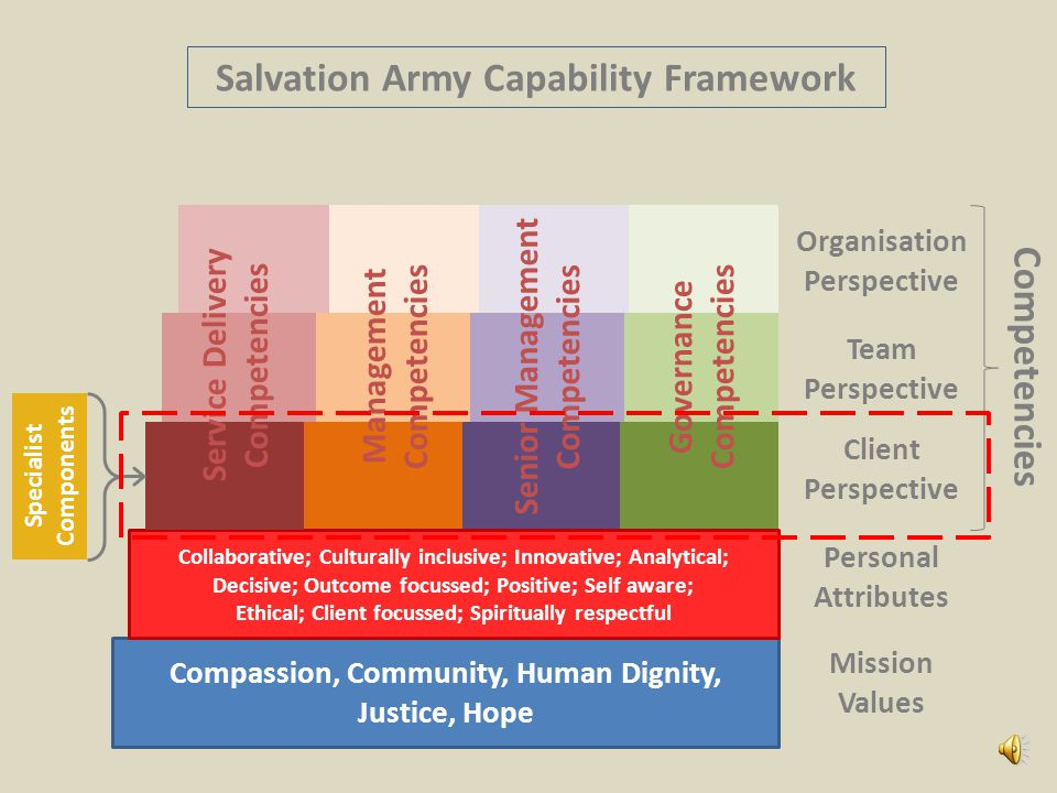 Compassion, Community, Human Dignity, Justice, Hope Mission Values Client Perspective Team Perspective Collaborative; Culturally inclusive; Innovative; Analytical; Decisive; Outcome focussed; Positive; Self aware; Ethical; Client focussed; Spiritually respectful Personal Attributes Organisation Perspective Management Competencies Senior Management Competencies Governance Competencies Salvation Army Capability Framework Service Delivery Competencies Competencies