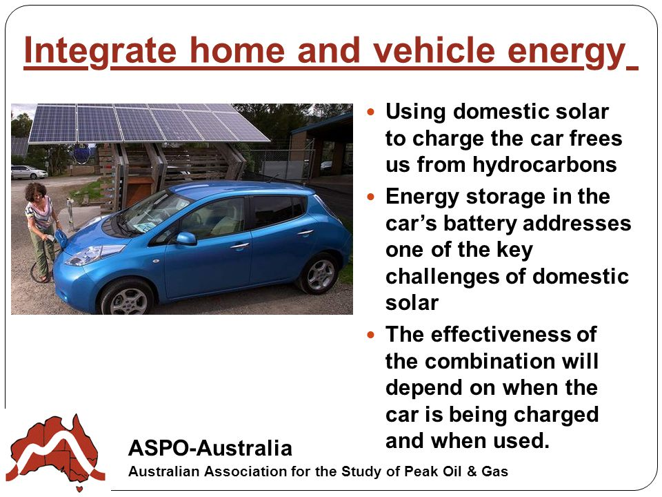 Using domestic solar to charge the car frees us from hydrocarbons Energy storage in the car's battery addresses one of the key challenges of domestic solar The effectiveness of the combination will depend on when the car is being charged and when used.