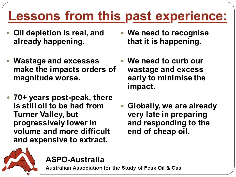 ASPO-Australia Australian Association for the Study of Peak Oil & Gas Lessons from this past experience: Oil depletion is real, and already happening.